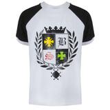 Футболка (122-170)-чёрный рукав с белым манжетом, герб в лавровом венке белый 620032-B