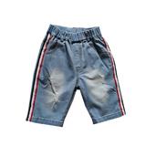 Шорты джинсовые (98-130)-на резинке, с красно синим лампасом голубой 110735