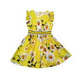 Платье (98-130)-Ромашки, рукав крылышко, пояс резинка жёлтый хлопок 181568