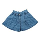 Шорты джинсовые (130-160)-высокие, с отворотом, полоска, пояс из ткани голубой 1 184518