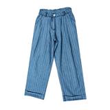 Брюки (130-160)-высокие,широкие, с отворотом, полоска, пояс из ткани голубой 1 184519