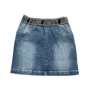 Юбка (122-154)-джинсовая, с белой отстрочкой, трапеция, на широкой резинке, вываренная голубой 184531