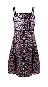 Сарафан (140-170)-трапеция, с леопардовым принтом, черная окантовка с клепками черный/розовый 320073-B