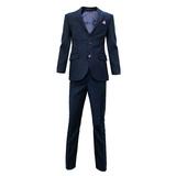 Школьная форма Костюм (6-14)-2-ка, с платочком и синей розочкой, на лацкане широкая отстрочка, с 2-мя прорезными карманами с клапанами синий 900/901-1
