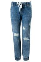 Джинсы (92-122)- дранки, на резинке со шнурками и манжетах голубой 1 620015-А