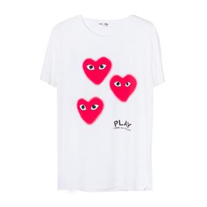 Футболка (S-M-L)-3 красных сердечка с глазами белый хлопок 065