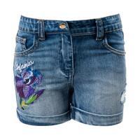 Шорты джинсовые (110-122)- Ирисы-вышивка , дранки, с подворотами синий 1 320120-С