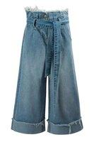 Кюлоты (140-170)-джинсовые, с завышенной талией, с поясом и отворотами голубой 320155-D