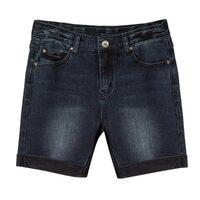 Шорты джинсовые (122-170)-вываренные, с отворотами черный 620044-B