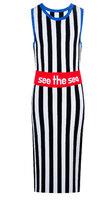 Платье (140-170)-б/р,широкая вертикальная  полоса,красный пояс с белой надписью бело/чёрный 320135-D