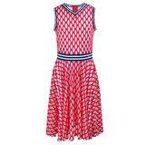 Платье (140-170)-сетка с V-образным вырезом, с резинкой по талии красный 320142-D