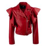 Куртка (140-170)-косуха, с крупными воланами, шлевки по талии с ремнем красный экокожа 320375-E