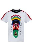 Футболка (92-122)-разноцветная маска, с чёрной резинкой на горловине,лампасами на плечах белый 620004-А