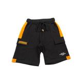 Шорты (130-160)-на резинке , с оранжевыми вставками и боковыми карманами, на завязке чёрный 610740