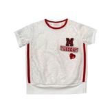 Футболка (98-130)-М с сердечком и серебристой надписью,с красными лампасами и трикотажным манжетом белый гипюр 683002