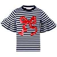 Футболка (92-122)-полоска, с красным бантом и оборкой на рукаве белый 320003-А