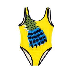 Купальник (104-172)-ананас в сине-черную бахрому, с открытой спинкой желтый 829199