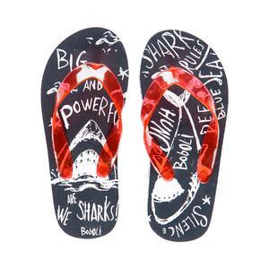 Сланцы (27-30)-пляжные, с силиконовыми лямками через палец, принт - акулы синий пластик 839156