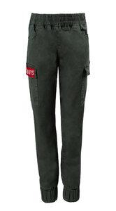 Брюки (140-170)-джогеры, с красной вставкой на кармане хаки 520015-C