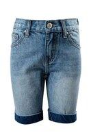 Шорты джинсовые (92-122)- с синими отворотами, красным квадратом на кармане голубой 1 620017-А