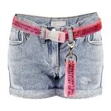Шорты джинсовые (110-122)-царапки, с подворотами, розовый пояс и розовая звезда из петок на кармане голубой 920133-D