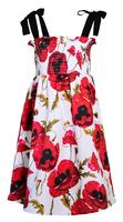 Сарафан (92-122)-талия на резинке, с цветочным ярким принтом белый/красный 320305-F