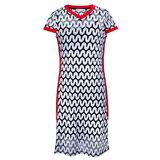 Платье (140-170)-вязанная змейка с красной окантовкой и красными лампасами бело/чёрный 320141-D