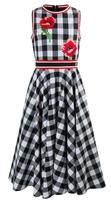 Платье (140-170)-Маки-вышивка, клетка,длинное, на трикотажном полосатом поясе бело/чёрный 1 320364-Е