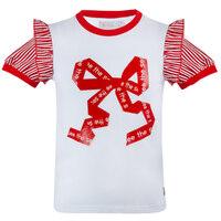 Футболка (92-122)- красный бант впереди, 2-рукав полоска с крылышком белый 320001-А
