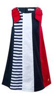 Платье (92-122)-полосы, красный бант на плечах бело/синий/красный 320017-А