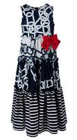 Платье (110-122)-цепи, полоскс, красный бант бело/синий 320023-А