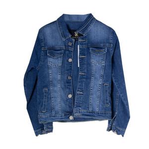 Джинсовая куртка (92-122)-с выбитой  надписью на спине синий хлопок 2936-М