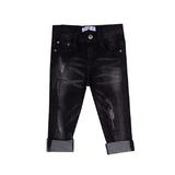 Джинсы (98-122) - вываренные, с отворотом и потертостями, на заднем кармане накат монстр черный 619513-А