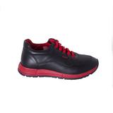 Кроссовки (31-36)-сбоку замок, красные шнурки и подошва чёрный/красный кожа 20600-34