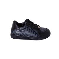 Кеды (26-30)-c серыми буквами, на шнурке золотистый аксессуар чёрный кожа 425-01