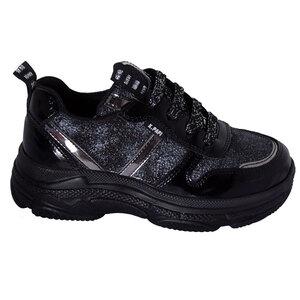 Кроссовки (28-30)-на структурной подошве,серебристые шнурки, с серебристыми и лаковыми вставками чёрный кожа 29510