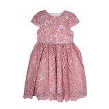 Платье (2-6) - кружевное, пояс из атласной ленты спереди со стразами пудра 1 20453