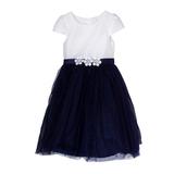 Платье (3-7) - в мелкую полоску, на поясе- 3 цветка, юбка сетка с синими жемчужинками бело/синий 1 20149