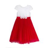 Платье (3-7) - в мелкую полоску, на поясе- 3 цветка, юбка сетка с красными жемчужинками бело/красный 1 20149