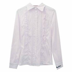 Школьная форма Блузка (13-21) - д. р, острый воротник, встречные рюши, пять мелких складочек белый 781941