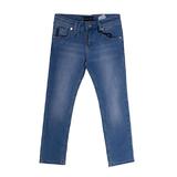 Джинсы (116-140)-выбеленные, с вышивкой на заднем кармане голубой хлопок 2709
