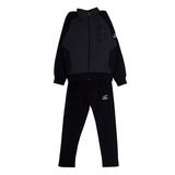 Костюм спортивный (122-152)-на замке,без капюшёна,чёрные рукава, брюки чёрные серый с чёрным хлопок 11224
