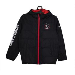 Куртка (120-170)-с капюшёном , стёганная,с белой надписью на рукаве чёрный биопух 75367-2