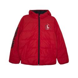 Куртка (120-160)-с капюшёном , стёганная,с чёрной надписью на рукаве красный биопух 75367-2
