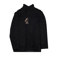 Пальто (116-176) - драповое на пуговицах, воротник стойка, накладные карманы черный 7095-2