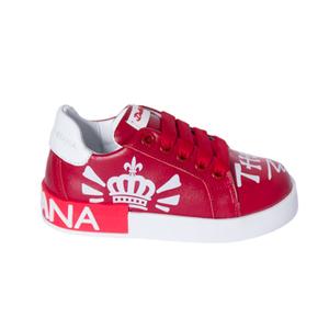 Кеды (26-30)- на шнурке,c белым  рисунком на носке,на белой подошве,на пятке красная  вставка  с белыми буквами красный кожа 164-260-06