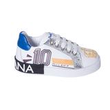 Кеды (26-30)- на шнурке, с надписью и короной на носке, серебристыми вставками ,на белой подошве,на пятке чёрный принт белый /синий кожа 164-275-09