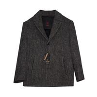 Пальто (116-176) - классика, с отложным воротником, драповое на пуговицах серый 7075-4