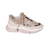 Кроссовки (36-40)-бежевые и коричневые вставки,с бежевыми шнурками и обьемной бежевой подошвой бежевый кожа 103-20-551