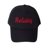 Кепка -Holiday-белая вышивка чёрный хлопок 0024